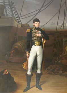 Portrait de Jérôme Bonaparte en costume d'officier de marine sur le pont d'un vaisseau de Bezzuoli Giuseppe