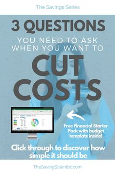 If you want to cut costs, there are only 3 questions you need to ask yourself: do I need it, do I have options, and what are the consequences? Find out Ways To Save Money, Money Saving Tips, Pay Yourself First, Budgeting Worksheets, Monthly Budget, Budget Template, Budgeting Money, Frugal Tips, Money Management