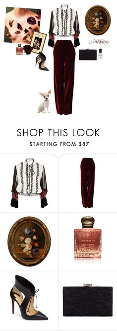"""""""The books that the world calls immoral are books that show the world its own shame."""" – Oscar Wilde"""" by fmsgray ❤ liked on Polyvore featuring Rodarte, Versace, Inspiritu, Christian Louboutin, Chesca and Deborah Lippmann"""