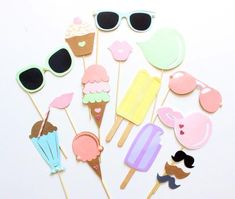 Pastel Ice Cream Shoppe Photo Booth Props/Ice Cream/Sweets Party/Sumner Party/Beach Party/Ice Cream Social by ThePartyGirlStudio on Etsy Ice Cream Party, Ice Cream Theme, Sumner Party, First Birthday Parties, Birthday Party Themes, 3rd Birthday, Birthday Ideas, Pastell Party, Fete Emma