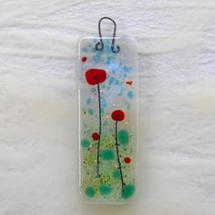 Poppies - fused art glass mini art hanger with embedded bale