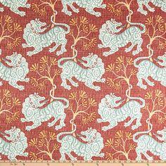 P Kaufmann Lion Dance Canvas Rouge - Fabric.com Linen Pillows, Custom Pillows, Toss Pillows, Chinoiserie Fabric, Beige Pillow Covers, Lion Dance, Custom Shower Curtains, Home Decor Fabric, Drapery Fabric