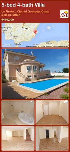 5-bed 4-bath Villa in La Fiesta I, Ciudad Quesada, Costa Blanca, Spain ►€460,000 #PropertyForSaleInSpain