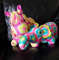 New family members: Heidi Bear Fatty Lumpkin the brave African Flower Pony and Nellie the Elephant African Flower has moved in with us. Made by my mom