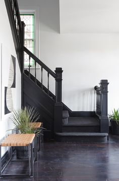 """Leanne Ford Interiors for HGTV& """"Restored By The Fords"""" - The Hine Project - Construction by Steve Ford - Shot by Reid Rolls - - Dark Staircase, Black Stairs, Staircase Design, Black Painted Stairs, Staircase Landing, Design Entrée, Ford Interior, White Interior Design, Contemporary Style Homes"""