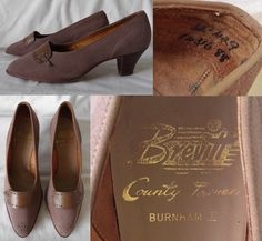 1940's Vintage BREVITT Country Towners 'Burnham III' Nubuck Suede Leather High Heel Brogue Shoes Ladies 4 37