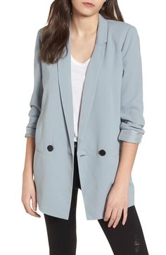 e0aec51db02f Bright color updates the look of this oversized blazer that makes a  contemporary addition to denim