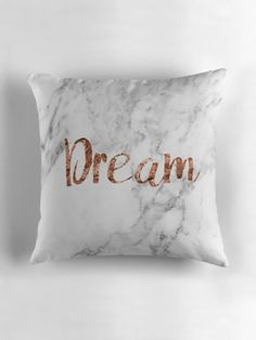 'Rose gold marble glam' Throw Pillow by peggieprints Room Decor Bedroom Rose Gold, Marble Room Decor, Rose Gold Rooms, Marble Bedroom, Rose Gold Decor, Cute Bedroom Ideas, Cute Room Decor, Girl Bedroom Designs, Room Ideas Bedroom