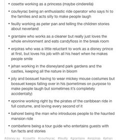 If Les mis & co. Worked at Disney<<I WANTTHIS THIS IS THE BEST <--- Marius not actually being an employee but a really enthusiastic guest who finds himself developing a slightly embarassing crush on   one of the blonde princesses