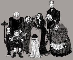 Gothic Charm School: pretty things — meedean: … The Addams Family! Morticia Addams, Gomez And Morticia, Addams Family 3, Addams Family Tattoo, Tv Movie, Movies, Drawn Art, Fanart, Goth Art
