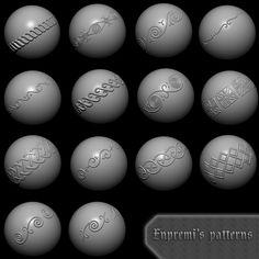Custom Zbrush patterns, Adam Dotlačil on ArtStation at https://www.artstation.com/artwork/Jwowv
