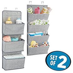 Amazon.com: mDesign Over-Door Fabric Baby Nursery Closet Organizers for Blankets, Toys, Wipes - Set of 2, Gray: Baby