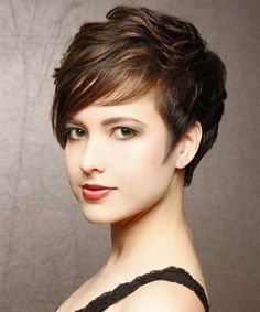 Elegant Pixie Cut with Cool Wavy Top Section