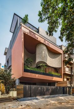 Photos and Videos 1 of 14 from project Badari Residence Brick Architecture, Concept Architecture, Residential Architecture, Home Building Design, Building Exterior, Jacuzzi, Narrow House Plans, Building Skin, Contemporary Building
