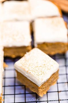 These are the BEST Keto Pumpkin Bars with a sugar-free cream cheese frosting. Enjoy low carb pumpkin bars loaded with amazing pumpkin pie spice flavor that is gluten-free, grain-free, and easy to make. Sugar Free Pumpkin Pie, Gluten Free Pumpkin Pie, Low Carb Pumpkin Pie, Homemade Pumpkin Puree, Pumpkin Pie Bars, Pumpkin Dessert, Pumpkin Recipes Keto, Pumpkin Bread, Sugar Free Desserts