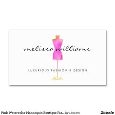 Pink Watercolor Dress Mannequin Customizable Business Card for Boutiques, Fashion Designers, Stylists, Fashion Bloggers and more.