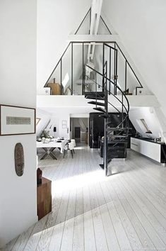 44 Glamorous Loft Style Bedroom Designs Ideas To Try Right Now - Do you want to extend the living capacity of your home, then why not convert your loft space into a bedroom? Bedroom loft conversions are becoming the. A Frame Cabin, A Frame House, Style At Home, Loft Stil, Casa Loft, Style Loft, Cafe Style, Piece A Vivre, Wood Interiors