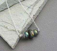 Labradorite Necklace Natural Stone and Sterling by RoxysJewelry, $59.00