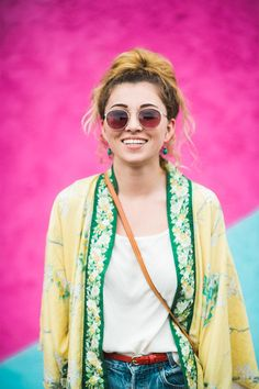 30 Style Dares That Are Real-Girl Approved #refinery29  http://www.refinery29.com/2016/03/106504/sxsw-street-style-photos-2016#slide-5  Silky sleepwear as festival wear: We're into it....