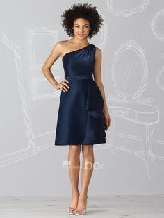 navy satin one shoulder mini bridesmaid dress with cascade ruffle skirt