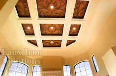 Inset scroll work at ceiling, by Faux Iron Solutions