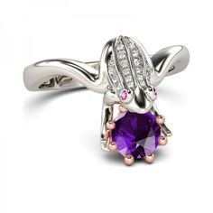 Jeulia Frog with CrownTwo Tone Amethyst  Frog Ring