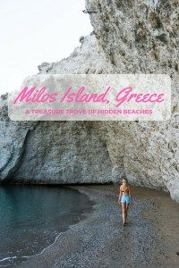 Milos Island, Greece - A Treasure Trove of Hidden Beaches. Read about why Milos should be on your bucket list for island hopping in Greece.  #greece #greekisland #cyclades #cycladeislands #milos #milosisland #beach #alogomandra #backpacker #travel #worldtravel #travelblog #travelblogger #bestbeaches #hiddenbeaches #greecetravel #exploremore #travelgirl #nomad #bucketlist
