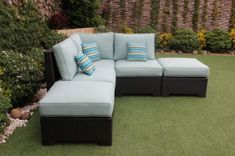 The Provence Outdoor Patio Wicker Sunbrella Spectrum Mist Medium Corner Sofa with Ottomans by Cieux features a sleek and modern style that would complement any outdoor patio or lanai. In addition to quality comfort, the Provence's modular design includes a corner chair, two armless chairs, two ottomans that can be rearranged to suit your space and vision.   Si il etre le paradis sur terre, ce qu'il est. If there be heaven on Earth, this is it.