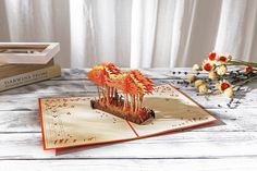 AITpop Deers in Autumn Forest hand-crafted greeting card 3D Pop Up Card.#3Dcard
