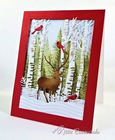 Masculine Christmas Scene by - Cards and Paper Crafts at Splitcoaststampers This is why we need this die Kay! That kittie! Christmas Scenes, Noel Christmas, Christmas Greetings, Handmade Christmas, Homemade Christmas Cards, Homemade Cards, Xmas Cards, Holiday Cards, Impression Obsession Cards