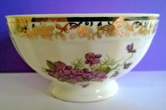 Vintage French small cafe au lait / coffee bowl with transfer of violets