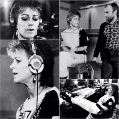 """A few more pictures of Frida and Phil Collins in the studio recording her album """"Something's Going On""""... #Abba #Frida #PhilCollins http://abbafansblog.blogspot.co.uk/2017/02/frida-images_14.html"""