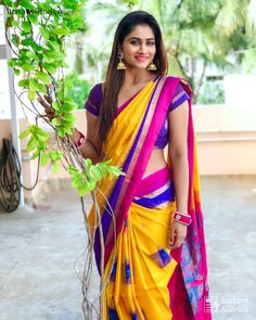 Shivani in a yellow color saree Beautiful Girl In India, Most Beautiful Indian Actress, Beautiful Saree, Beautiful Women, Beautiful Models, Beauty Full Girl, Beauty Women, Kerala Saree Blouse Designs, Traditional Silk Saree