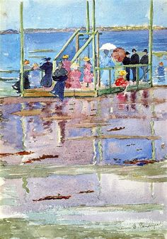 Maurice Prendergast - Float at Low Tide, Revere Beach (People at the Beach), 1896-98