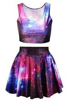 Pink Queen Galaxy Print Crop Tank Top/Pleated Skater Skirts Set For Women, Girls Fashion Clothes, Teen Fashion Outfits, Outfits For Teens, Girl Fashion, Clothes For Women, Cute Lazy Outfits, Pretty Outfits, Stylish Outfits, Cool Outfits