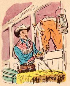 Roy Rogers and Trigger; Vintage cowboy comic. Vintage Cartoon, Vintage Comics, Cartoon Art, Vintage Posters, Vintage Art, Vintage Stuff, Vintage Prints, Cowboy Art, Cowboy And Cowgirl