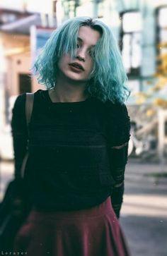 blue wash hair & red velvet skirt