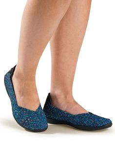 Bernie Mev Catwalk in Ocean - Bernie Mev Catwalk has woven elastic uppers with enough stretch to make feet with bunions or hammertoes happy. Bernie Mev shoes have memory foam insoles add more comfort. #BernieMev Solutions.com
