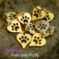 Just in time for Valentine's day! Declare your puppy love with these gold plated sterling silver paw heart charms at http://www.ninadesigns.com/bali_bead_shop/24k_gold_plated_sterling_silver_heart_charm_with_paw_print/ga1161/details