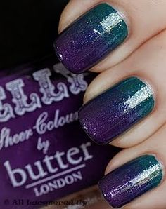 Graduated nail polish!! Sparkly Teal and Glittery Purple. This is done by layering. Paint the entire nail teal. Then, layer on the purple starting approximately 1/3 of the way up the nail from the cuticle. Split the top 2/3 of the nail into four sections and those become the starting points for each layer of polish (see below). As you paint each layer of purple it creates a deeper, richer purple.
