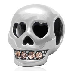 Everbling Jewelry Skull with CZ Love You To Death 100% 925 Sterling Silver Charm Beads Fits European Charms Bracelet S #Affiliate