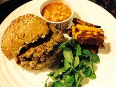 Quinoa and green lentil burger with sweet potato chips (sent in by Amy Arnold)