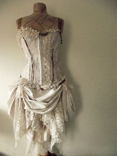 Beautiful layers of lace~❥ imagine this with black leather paints and chains all over and a beautiful hat...sweet!