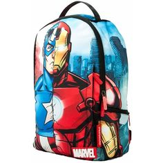 Sprayground - Marvel Civil War Backpack (171 AUD) ❤ liked on Polyvore featuring bags, backpacks, mini backpacks, pocket backpack, laptop pocket backpack, day pack backpack and laptop backpack