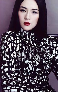 Zhang Ziyi black and white + red lips <3
