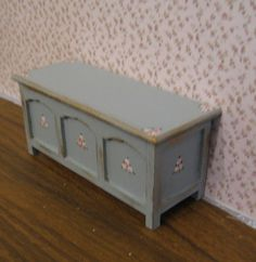 Blanket box or toy box,  a dollhouse miniature in twelfth scale. $12.50, via Etsy.
