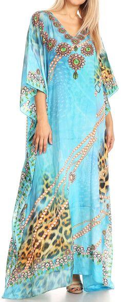 ed0eca27fc640 Sakkas Anahi Flowy Design V Neck Long Caftan Dress / Cover Up With  Rhinestone. Best Wear ...