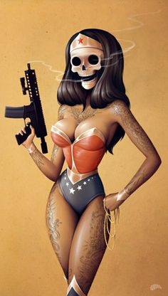 Tatted up skull face Wonder Woman packing heat