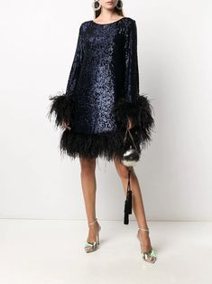 Stylish Dresses, Mid Length, Feather, Navy Blue, Women Wear, Boutique, Long Sleeve, Fashion Design, Delivery