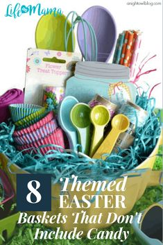 8 Themed Easter Baskets That Don& Include Candy Theme Baskets, Gift Baskets, Craft Stick Crafts, Diy Crafts, Boyfriend Crafts, Easter Crafts For Kids, Easter Ideas, Easter Bunny Decorations, Baking With Kids